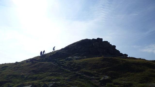 Gaining the summit of Crug Hywel