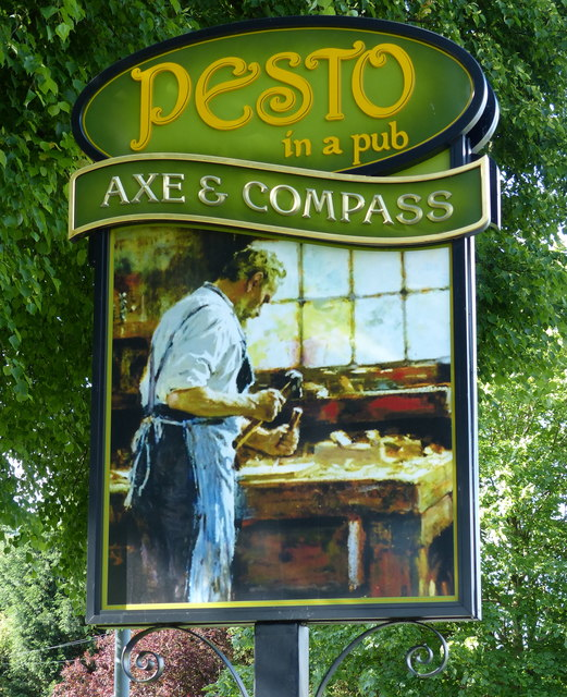Axe & Compass pub sign