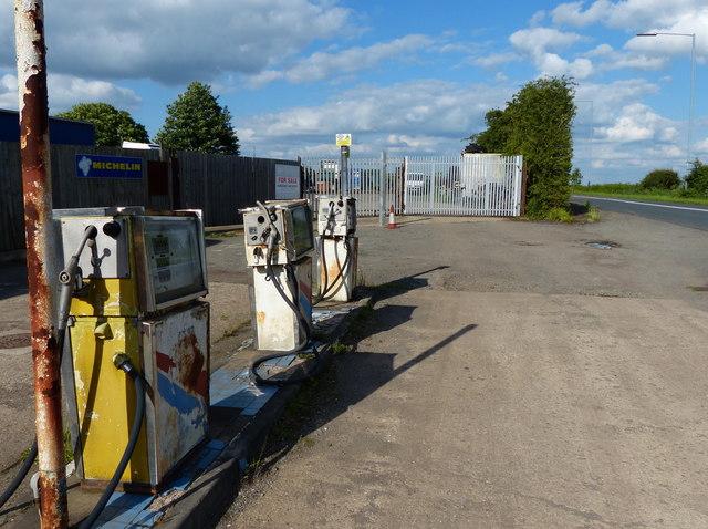 Old petrol pumps along the B4114 Smockington Lane