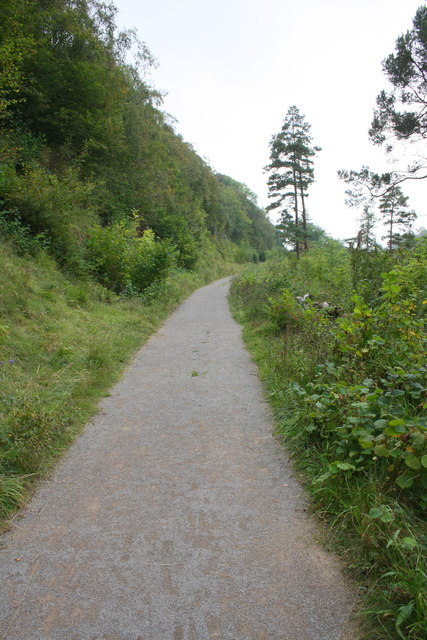Path on dismantled railway line through Crag Wood