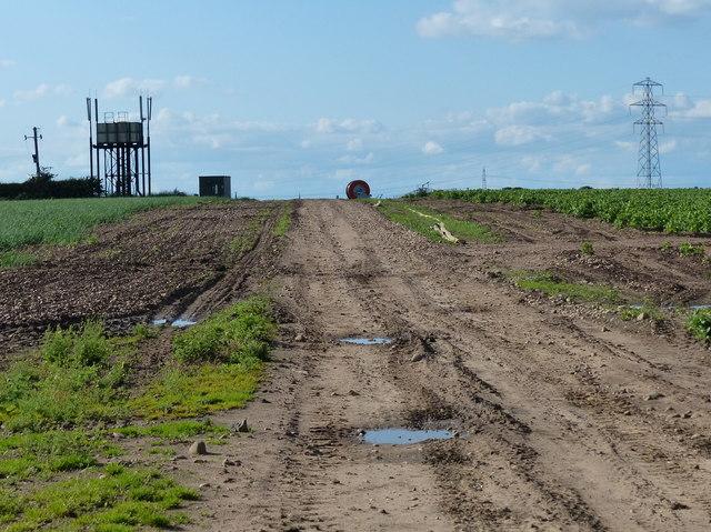 Track and farmland along Smockington Lane