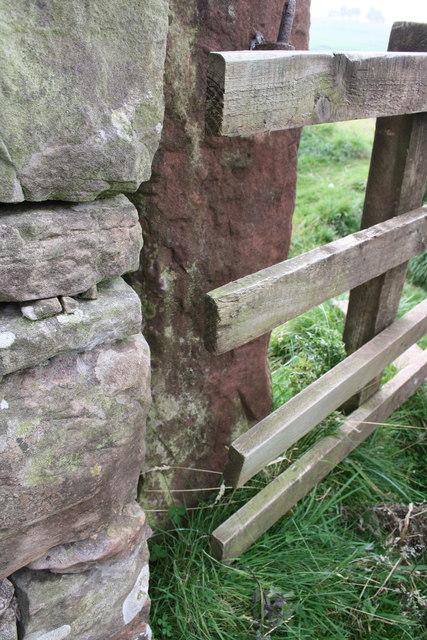 Gatepost at stile east of Smardale Bridge