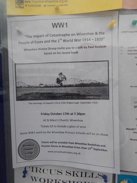 WW1 Zeppelins, Little Wigborough notice