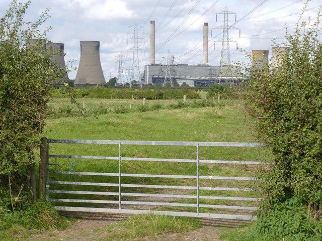 View towards West Burton Power Station