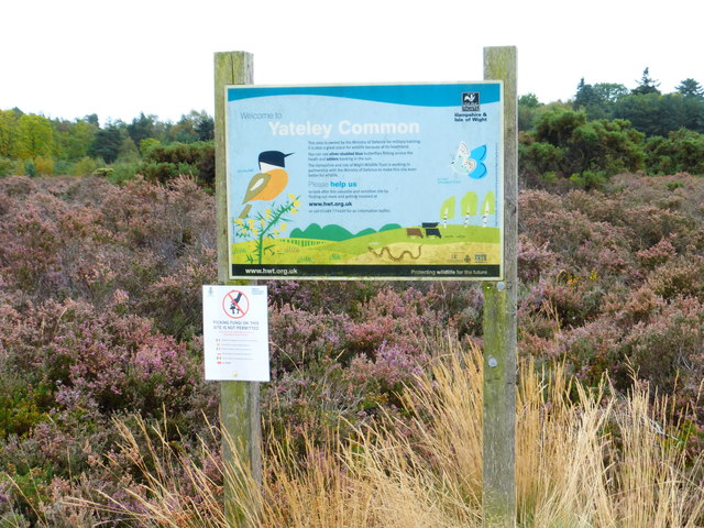 Information board on Yately Common