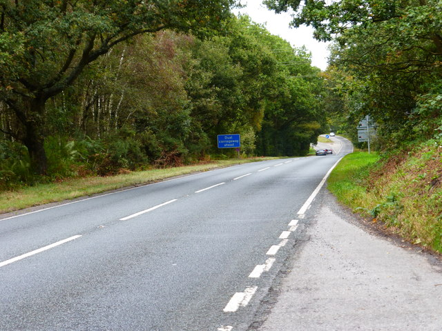 Looking east along the A30 towards start of dual carriageway