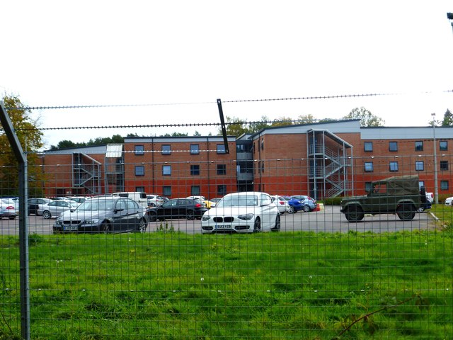 Barracks on Minley Road seen from the bridleway at the back