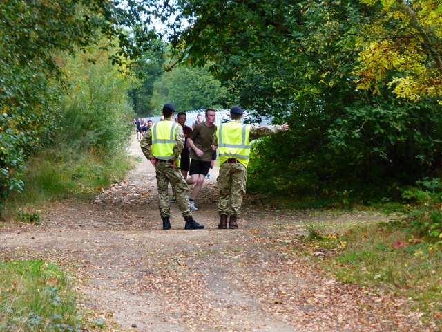 Runners are directed off the bridleway and into the barracks