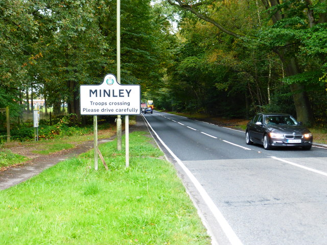 The A327 arrives at Minley