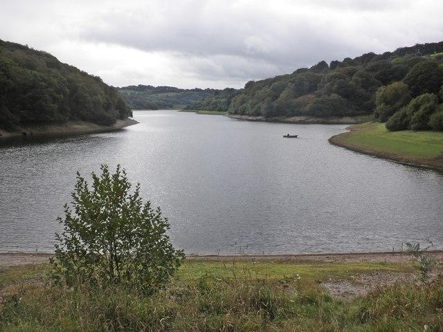 A lone fisherman on Clatworthy Reservoir