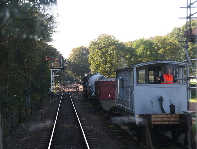 North Norfolk Railway: passing the sidings on the way into Holt Station