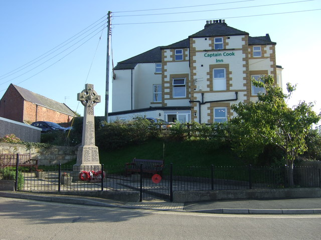 War Memorial and Captain Cook Inn, Staithes