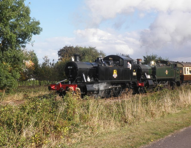 'Double-headed' train passes Dunster