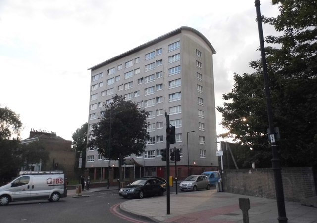 Tower block on the corner of Manor Road