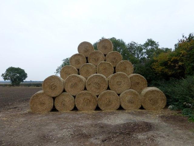 A pyramid of hay bales