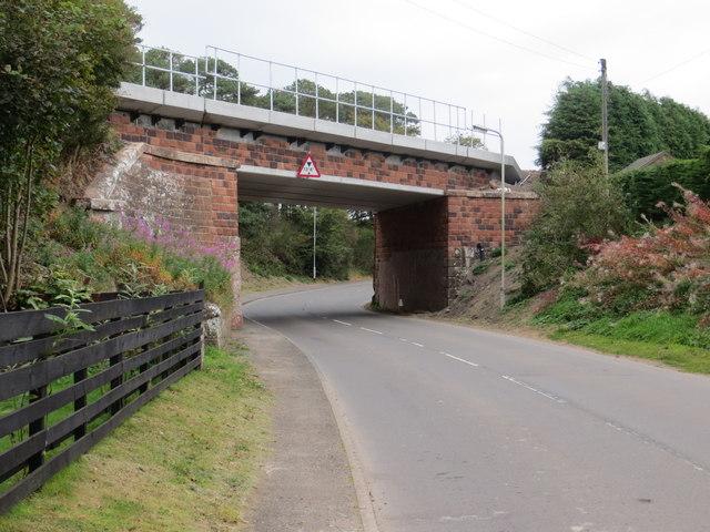 Road (B724) and Railway Bridge at Cummertrees