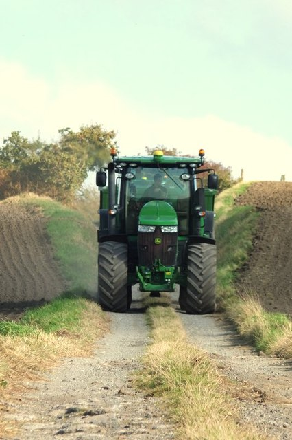 John Deere tractor on path to Heaton's Farm, Brownlow, Billinge