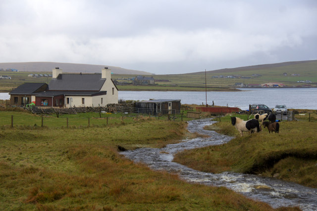 Burn of Voesgarth in spate, and the Booth, Baltasound