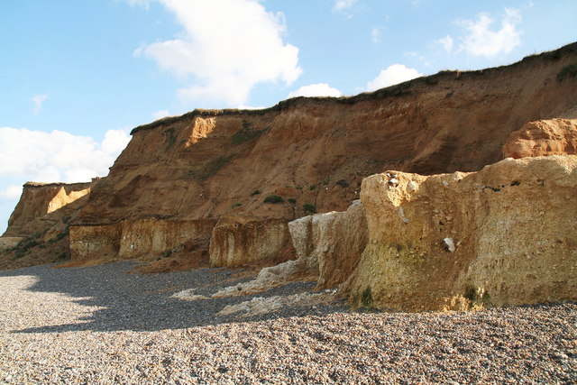 """""""Rust"""" streaks in the chalk: cliff face, Weybourne Hope"""