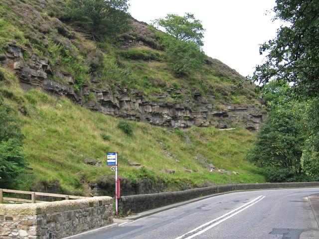 Cornholme - bus stop and exposed rocks