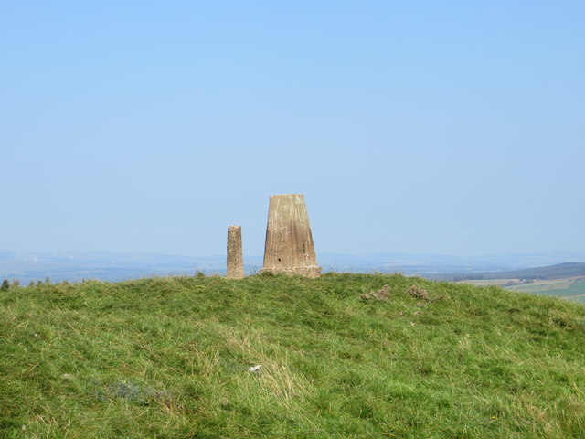 The Top of Quhytewoollen Hill with its Triangulation Pillar and Concrete Post