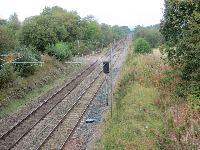 The Main West Coast Railway Line viewed from Perchhall Bridge
