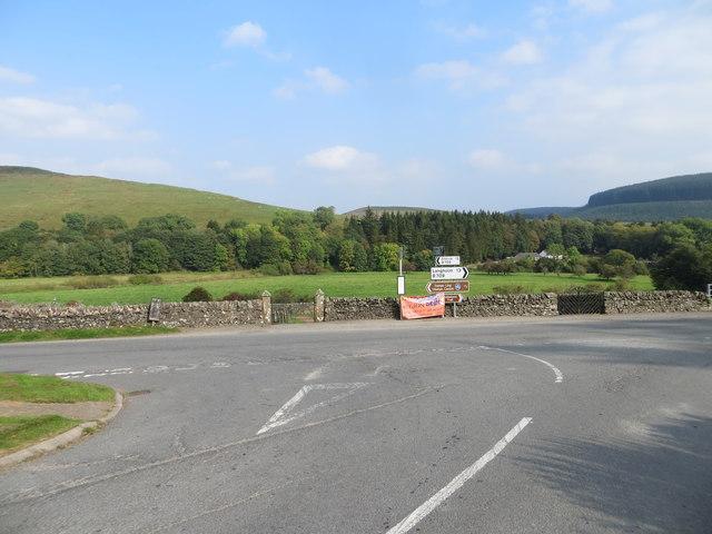 Junction of the B723 and B709 roads at Eskdalemuir Parish Church