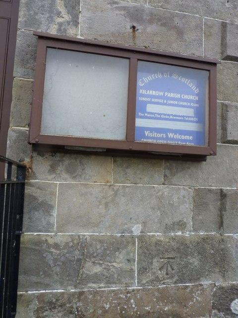 Benchmark at Kilarrow Parish Church, Bowmore, Islay