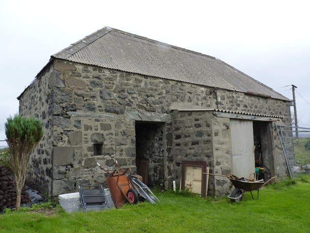 Location of benchmark on outbuildings at Seafield, Bowmore, Islay