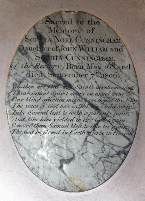 All Saints, Ockham - Wall monument