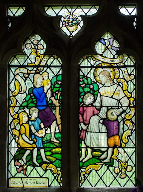 Stained glass window, All Saints' church, Icklesham
