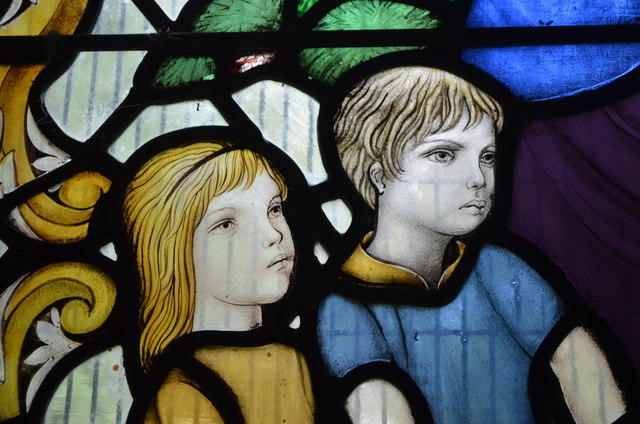 Detail, Stained glass window, All Saints' church, Icklesham