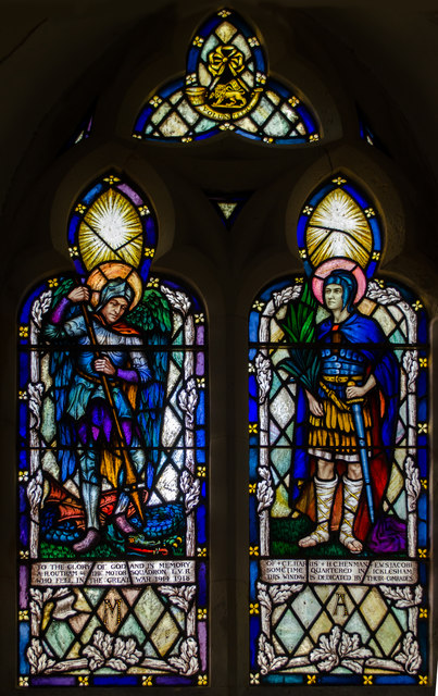 Stained glass window, All Saints' church, Icklesham