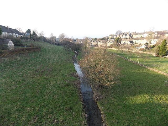 Stream on the west side of Bath Bridge, Tetbury