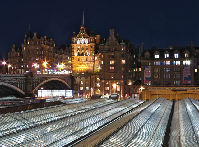 Edinburgh Waverley Station roof at night