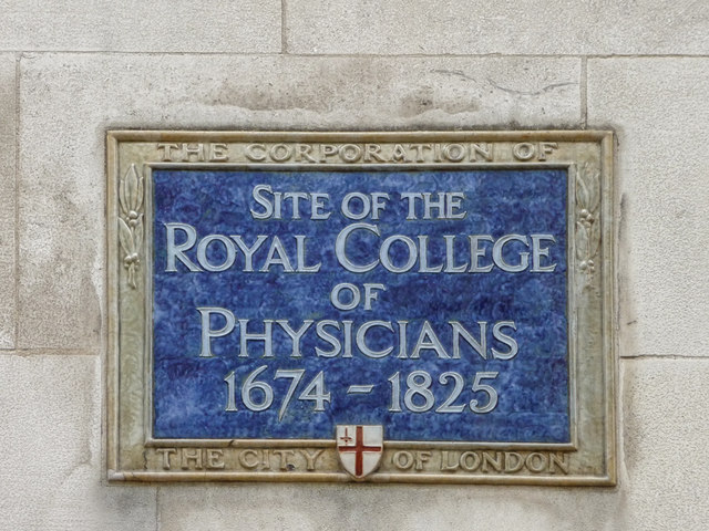 Royal College of Physicians blue plaque - Site of the Royal College of Physicians 1674 - 1825