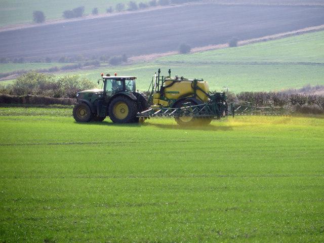 Spraying Winter Wheat near Bonby