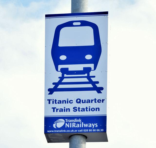 Titanic Quarter railway station sign, Belfast (November 2014)