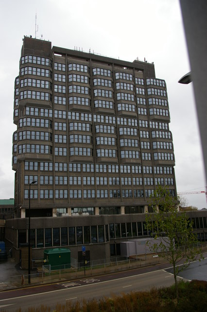 County Hall, Aylesbury, from the Friars Square multi-storey car park