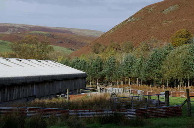 Farm buildings and valley scene, Cwmchwefru