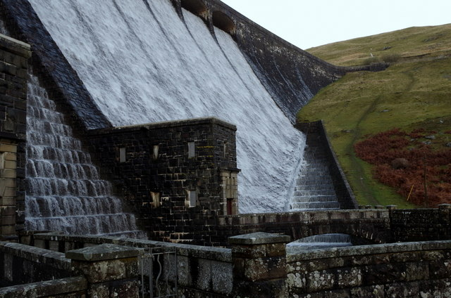 At the foot of the Claerwen dam