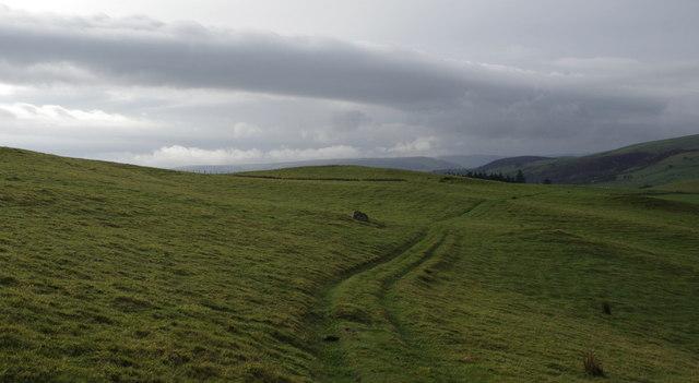 Path across grassy upland