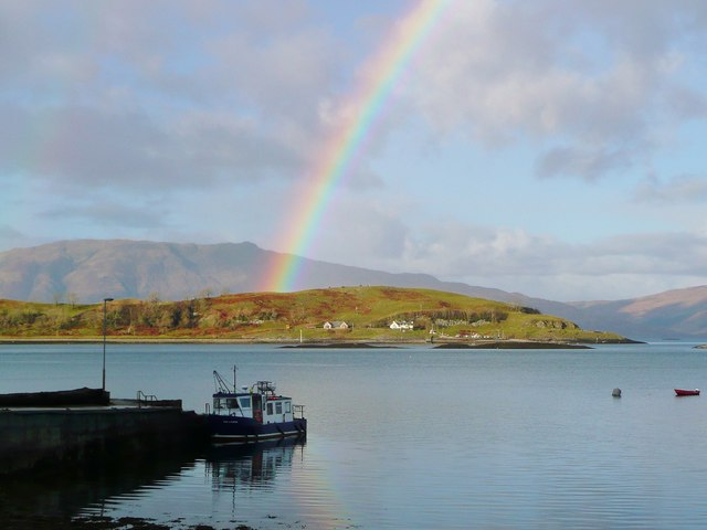 The Lismore ferry and a rainbow