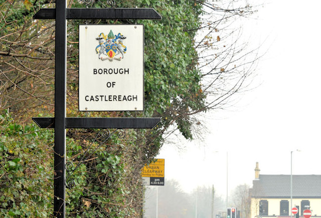 Castlereagh boundary sign, Dundonald (November 2014)