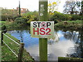 """SU9298 : """"Stop HS2"""" sign next to the duck pond, Little Missenden by Peter S"""