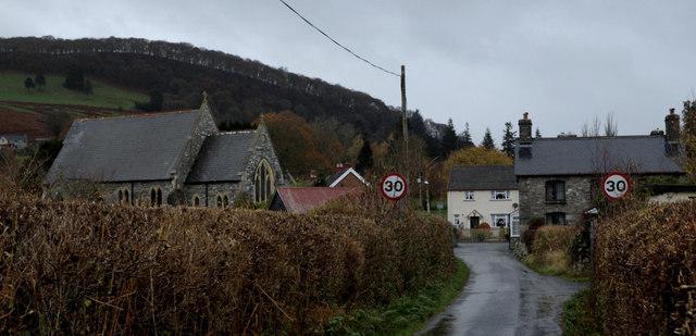 Village scene, Llanwrthwl