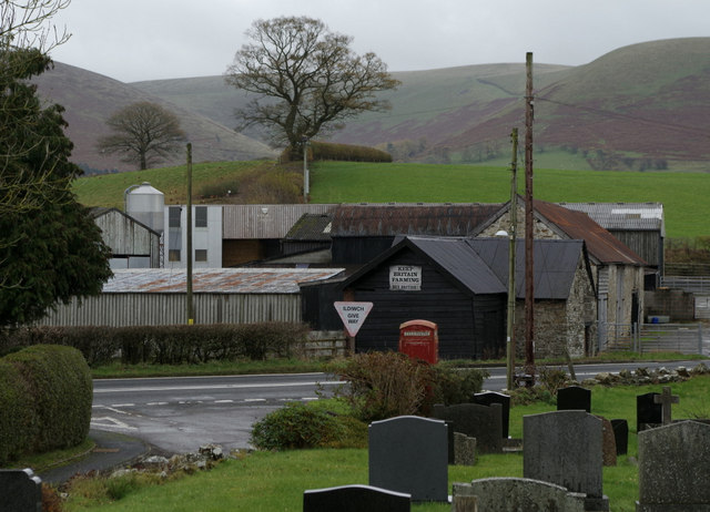 Llandegley - churchyard, road, farm and hill