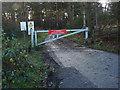 SU8458 : Road barrier, Hawley Hill by Alan Hunt