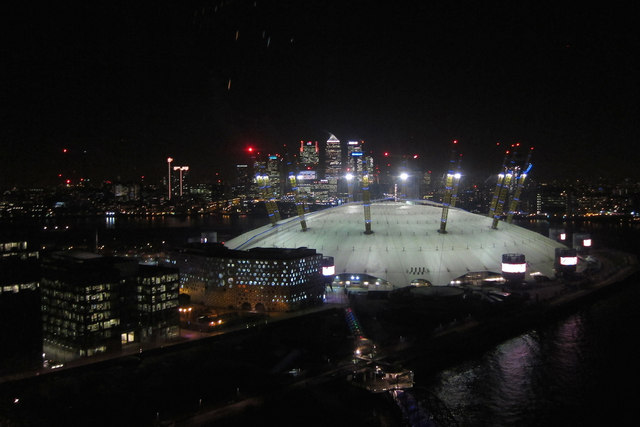 The O2 at night