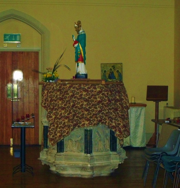 Pulpit and statue, St. Patrick's, Hove